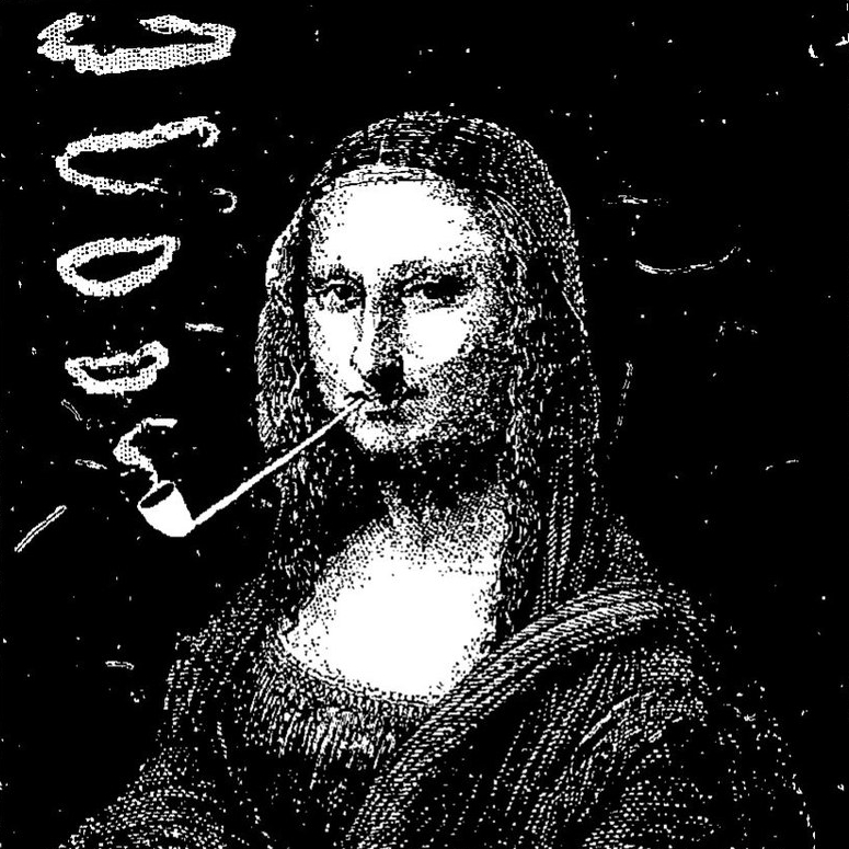 Mona Lisa with a Pipe, by Eugène Bataille (Sapeck) (detail)